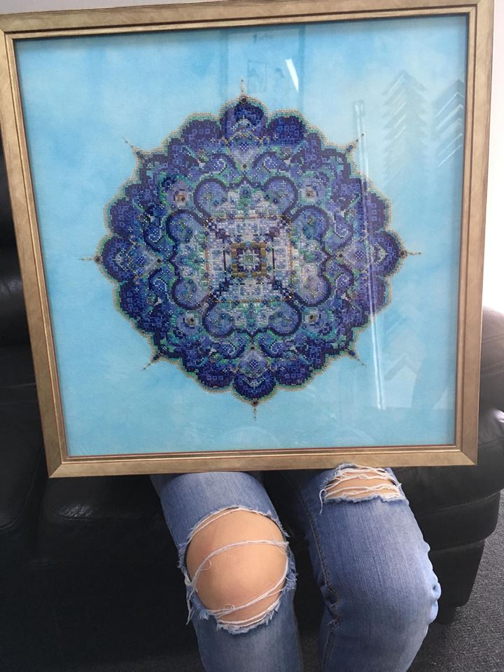 Blue Moroccan Lace stitched by Tammy Verdon